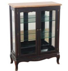 Прованс Шкаф-витрина (черная состаренная)  (Mobilier de Maison)