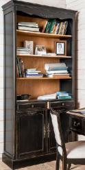 Прованс Стеллаж с 2мя ящиками и дверцами (черный состаренный) (Mobilier de Maison)