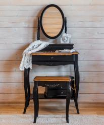 Прованс Туалетный столик с овальным зеркалом (черный состаренный) (Mobilier de Maison)