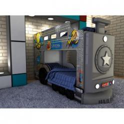 Двухъярусная кровать-машина Паровоз (серый) (Ред Ривер)