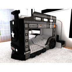 Двухъярусная кровать-машина Паровоз (чёрный) (Ред Ривер)