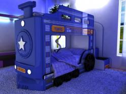 Двухъярусная кровать машина Паровоз (синий) (Ред Ривер)