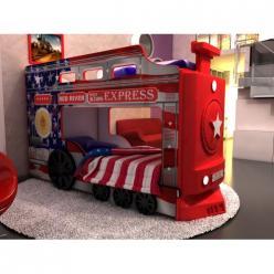 """Двухъярусная кровать-машина Паровоз """"Америка"""" (Ред Ривер)"""