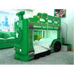 Двухъярусная кровать-машинка Паровоз (зеленый) (Ред Ривер)