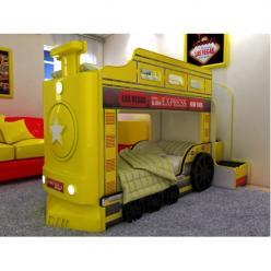 Двухъярусная кровать-машина Паровоз (желтый) (Ред Ривер)