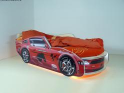 Кровать Молния Премиум Красная с подсветкой и матрасом (ВиВера мебель)