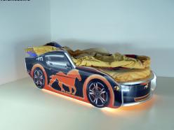 Кровать Мустанг Премиум Черная с подсветкой (ВиВера мебель)