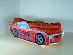 Кровать Мустанг Премиум Красная с подсветкой (ВиВера мебель)
