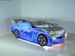 Кровать Мустанг Премиум Синяя с подсветкой и матрасом (ВиВера мебель)