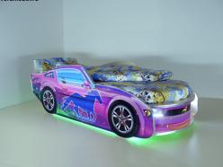 Кровать Мустанг Премиум Сиреневая с подсветкой и матрасом (ВиВера мебель)