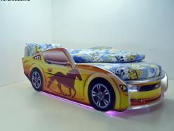 Кровать Мустанг Премиум Желтая с подсветкой (ВиВера мебель)