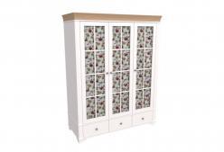 Шкаф 3х дверный со стеклянными дверями Бейли (Sanremi)