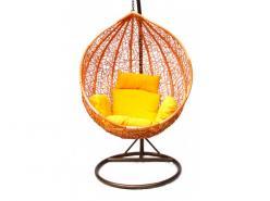 Подвесное кресло KM-0001 (рыжий, подушка со зверушками) [Рыжий иск. ротанг / Подушка со зверушками] (Kvimol)