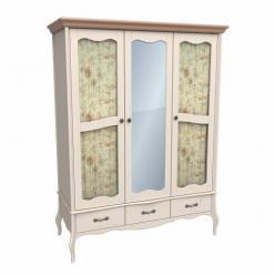 """Шкаф 3х-дверный """"Лебо"""" с зеркалом и стеклянными дверями (бежевый воск) (Sanremi)"""