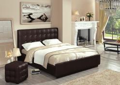 Кровать «Лорена» 140*200 (перламутровая кожа Best) с основанием и стразами (Арника)