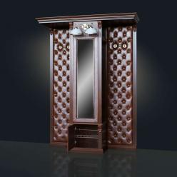 Шкаф для одежды с зеркалом, с 2-мя вешалками (без банкеток) Благо арт.Б5.13 (Мебель Благо)