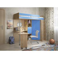 Кровать-чердак Милана-5 (дуб сонома+синий) (Милана-мебель)