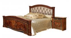 Карина-3 (орех) Кровать 2-х спальная (2 спинки+мягкий элемент) (Ярцево)