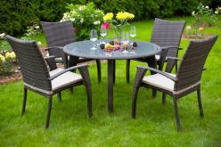 Комплект садовой мебели Комплект MONACO(СТОЛ +4 СТУЛА + 4 ПОДУШКИ)  [Темно-коричневый ротанг] (Besta Fiesta)