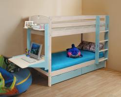 Двухъярусная кровать Кровать детская Двухъярусная Трансформер с ящиком и столиком (Боровичи)
