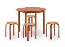 Круглый стол и стулья для кухни Норония + 4 Гамма [Вишня] (Боровичи)