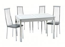 Обеденная группа для кухни Ницца-1 Рис.1 (ноги хром) + 4 шт. Капри-1 [Стекло серебро / Серебро] (Кубика)