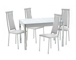 Обеденная группа для кухни Ницца-1 Рис.1 (ноги хром) + 4шт. Капри-2 [Стекло серебро / Серебро] (Кубика)