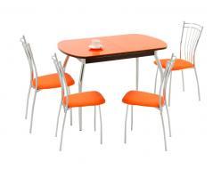 Обеденная группа для кухни Обеденная группа Портофино-1 + 2 шт Олива-2 [Стекло оранжевое / Венге] (Кубика)