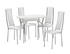 Обеденная группа для кухни Шанхай-2 + 4 шт. Капри-2 [Стекло Белое / Белый] (Кубика)