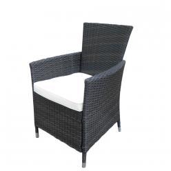 Дачное кресло КМ-0317 [Коричневый с переходами иск. ротанг / Светлые подушки] (Kvimol)