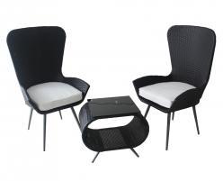 Комплект садовой мебели КМ-0203 [Черный иск. ротанг] (Kvimol)