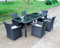 Комплект садовой мебели КМ-1312 (Стол КМ-0312 + 6 кресел КМ-0317) [Черный иск. ротанг] (Kvimol)