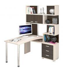 Угловой компьютерный стол с надстройкой и ящиками СР-420/130 (Мэрдэс)
