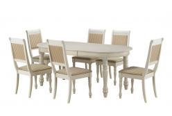 Обеденная группа для столовой и гостиной Обеденная группа CH-T6EX и 6 стульев CH-SC [BUTTER WHITE] (Mr. Kim)