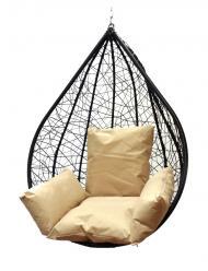 Подвесное кресло Алания черное XXL с бежевой подушкой (Облачный замок)