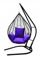 Подвесное кресло Алания черное XXL с фиолетовой подушкой (Облачный замок)
