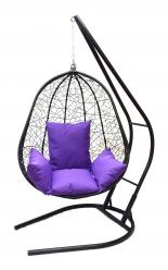 Подвесное кресло Капри XXL черное с фиолетовой подушкой (Облачный замок)