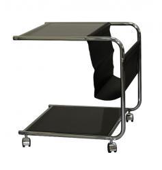 Стеклянный журнальный столик на колесиках GC1931 [Черный хром] ()