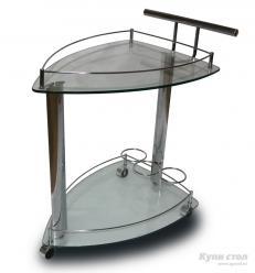 Сервировочный столик SC-5068 Джанго (Хром / Стекло)  (Рэд энд Блэк)