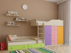 Двухъярусная кровать Астра-6 Дуб Молочный (РВ Мебель)