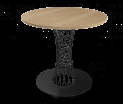 Кухонный стол SHT-ТU3 + SHT-TT 80 ЛДСП [Черный / Дуб беленый] (Sheffilton)
