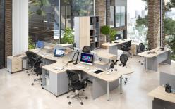 Комплект офисной мебели Офикс Нью К1 Сонома [Дуб Сонома светлый / Металлик] (SKYLAND)