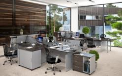 Комплект офисной мебели Офикс Нью К2 Легно [Легно Темный / Металлик] (SKYLAND)