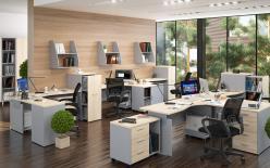 Комплект офисной мебели Офикс Нью К2 Сонома [Дуб Сонома светлый / Металлик] (SKYLAND)