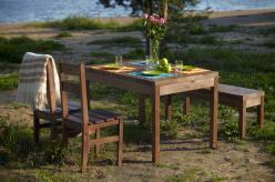 Комплект садовой мебели Лахти + 2 стула Дачный + скамья Лахти [Капучино] (Timberica)