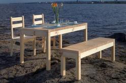 Комплект садовой мебели Лахти + 2 стула Дачный + скамья Лахти  [Натура] (Timberica)