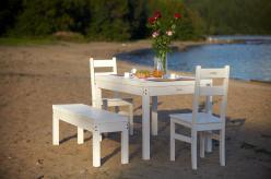 Комплект садовой мебели Лахти + 2 стула Дачный + скамья Лахти [Уайт] (Timberica)