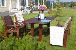 Комплект садовой мебели Скамья Ярви + 2 кресла Ярви + стол Ярви [Капучино] (Timberica)