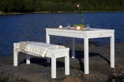 Комплект садовой мебели Стол Лахти + скамья Лахти [Уайт] (Timberica)