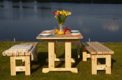 Комплект садовой мебели Стол Ярви + 2 скамьи дачные №2 [Натура] (Timberica)